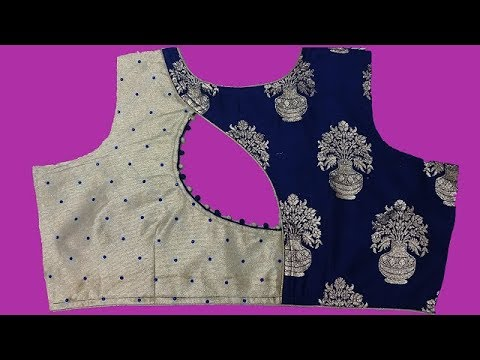 two colour blouse design stone work cutting and stitching