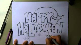 How To Make a Happy Halloween Poster, Sign, Invitation or Card! Step by Step. Easy!