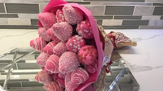 DIY Chocolate Cover Strawberry Bouquet (English)