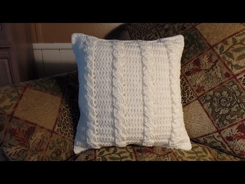 How to Crochet Cable Stitch Throw Accent Pillow Bagoday Crochet Tutorial #285