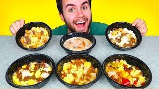 TRYING JIMMY DEAN FROZEN BREAKFAST MEALS! - Eggs, Bacon, Biscuits & Gravy Bowls, & MORE Taste Test!