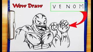 How to Draw VENOM - How to turn words VENOM into VENOM Tom hardy - Drawing VENOM - Wow Draw