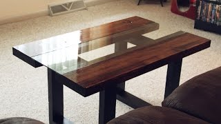 Glass & Wood Coffee Table with Faux Metal Legs