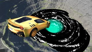 Leap Of Death Car Jumps & Falls Into Giant Black Hole Vortex - Beamng Drive