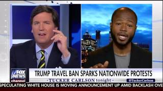 Airport Protester Gets Wrecked by Tucker Carlson 1-30-17