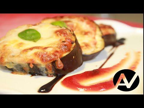 Berenjenas tomate y mozzarella gratinada