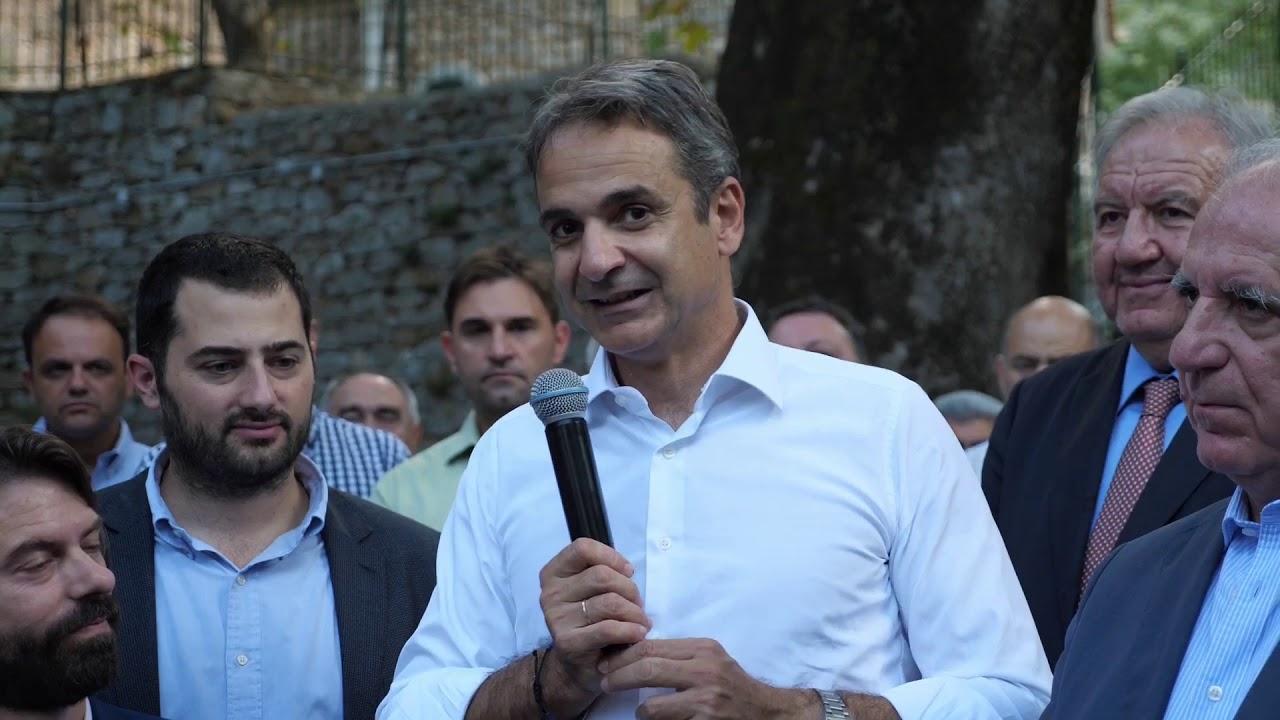 Χαιρετισμός του Πρωθυπουργού Κυριάκου Μητσοτάκη στη σύντομη επίσκεψή του στη Λιβαδειά