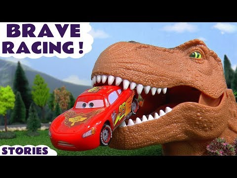 Scary Disney Cars Toys Racing Toy Car Kids stories with Dinosaur and Thomas and Friends Trains TT4U