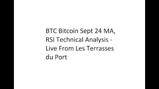 BTC Bitcoin Sept 24 MA, RSI Technical Analysis - Live From Les Terrasses du Port
