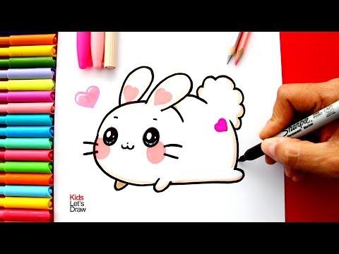 Aprende a dibujar un CONEJO Kawaii fácil | How to Draw A Cute Bunny Rabbit Easy