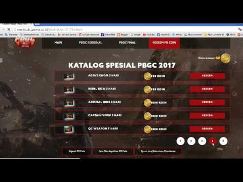 Video Tukar PB Coin PBGC 2017 bisa dapat Quick Change, Change Nickname, AUG