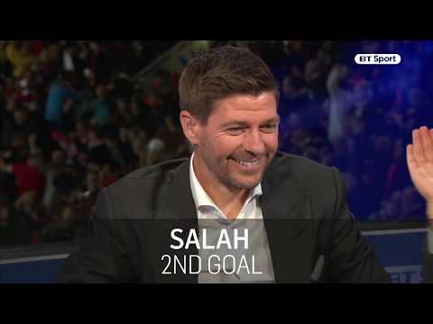 Liverpool legend Steven Gerrard reacts to Mohamed Salah's goals against Roma