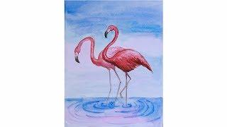 Уроки рисования. Как нарисовать фламинго акварелью  How to draw Flamingos | Art School