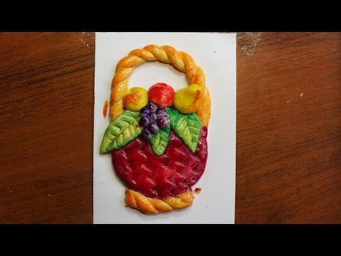 """Поделки из соленого теста своими руками.""""Корзинка с фруктами"""" Видео урок для детей 5-8 лет."""