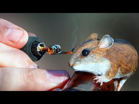 [Production] Wood Carved Timber Rattlesnake Chasing a Mouse Walking Stick [16:33]