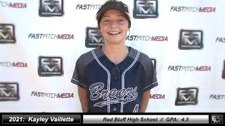 2021 Kayley Vaillette Athletic Outfield & Middle Infield Softball Skills Video Ca Breeze North State