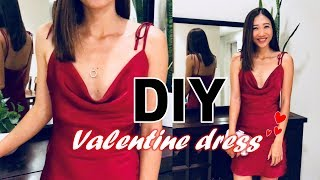 DIY FALLING NECK DRESS - Convert Old Dress To Sexy Dress For My Valentine 2019