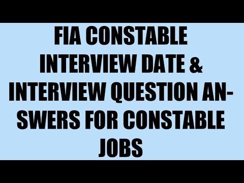 Fia Constable Interview Date 2018 | FIA Constable interview Question