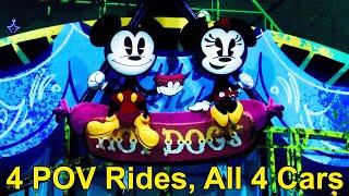 Mickey & Minnie's Runaway Railway 4 FULL POV Rides From All 4 Cars at Disney's Hollywood Studios