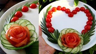 Super Salad Decoration Ideas - Cucumber & Tomato Rose Carving Garnish