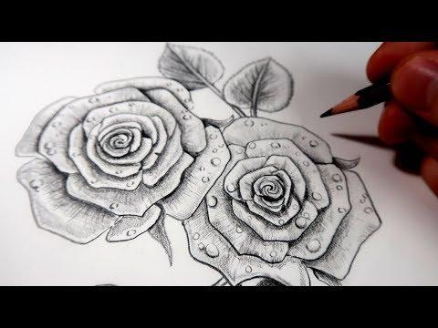 уроки живописи Comment Dessiner Des Roses Au Crayon Tutoriel