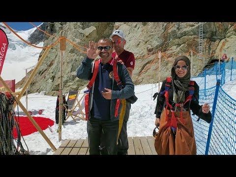 Jungfrau, Switzerland: Maryam jumped from the top of Europe (Zip Line)