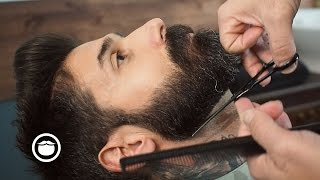 Barbershop Beard Trim & Wet Shave with Narration | Carlos Costa