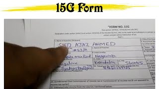 How To Fill 15G form for pf withdrawal full solution-FORM NO.15G