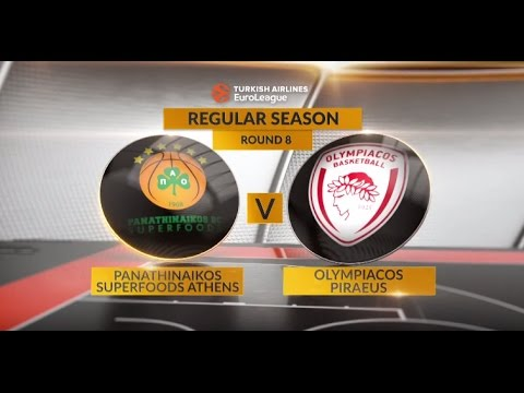 EuroLeague Highlights RS Round 8: Panathinaikos Superfoods Athens 77-79 Olympiacos Piraeus