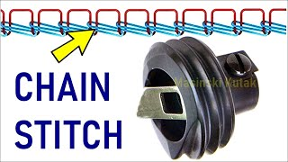 Sewing Chain Stitch On A Home Sewing Machine / Kettenstich / Janome 618