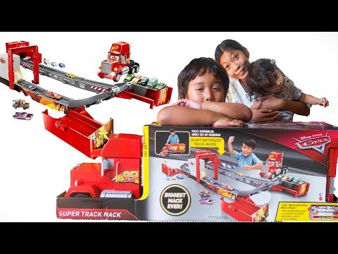 Unboxing NEW DISNEY CARS TOYS Motorized Playset SUPER TRACK MACK TRANSFORMING RACETRACK