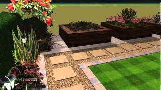 Minimal landscaping which offers organised space (night) - PMN Landscape Designs Ltd