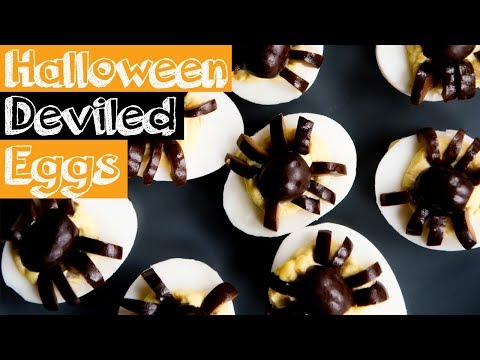 Spooky Halloween Deviled Eggs with Spiders!