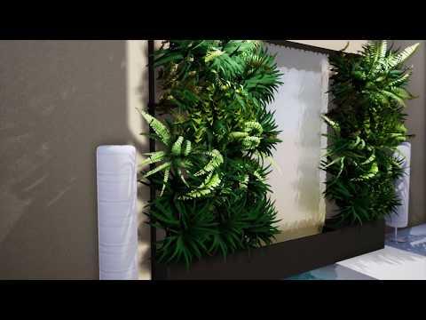 ม่านน้ำกระจกเงาและสวนแนวตั้งสำเร็จรูป (Mirrored-Water Curtain with Vertical Garden)
