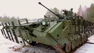 The BMP-2M infantry fighting vehicle during trials at the proving ground