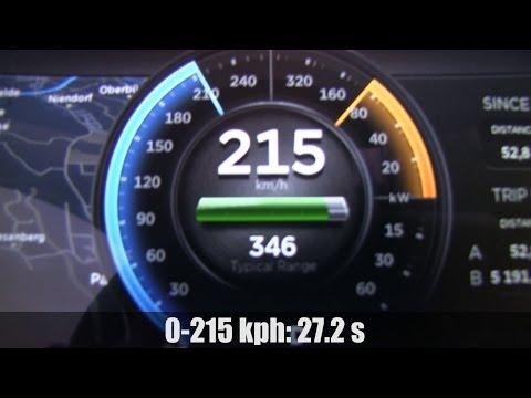 Tesla Model S P85 acceleration 0-215 kph on German Autobahn
