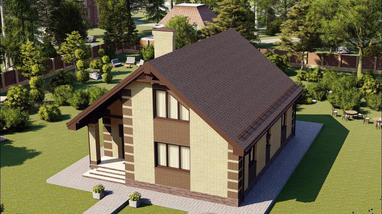 Проект дома с мансардой из газобетона 144м2