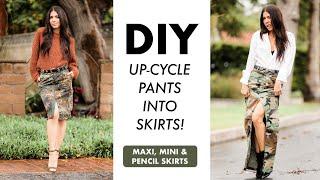 DIY: Turn CAMO Pants Into SKIRTS!! (Maxi, Mini + Pencil Skirts!) -By Orly Shani