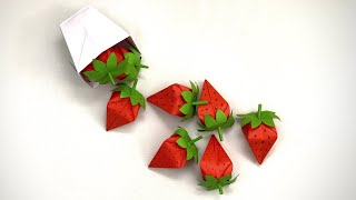 DIY PAPER  STRAWBERRY / Paper Crafts For School / Paper Craft / Easy Origami / Paper Strawberry 3D