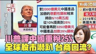川普生氣了!課中國重稅25% 全球股市嚇趴 促使台商回流? 國民大會 20190508