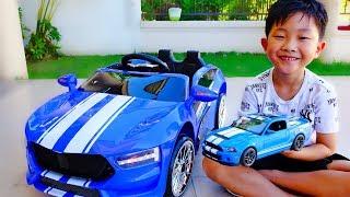 파란색 멋진 슈퍼카 전동차 예준이의 전동 자동차 장난감 조립놀이 포드 쉘비 Power Wheels Super Car Toy Video for Kids