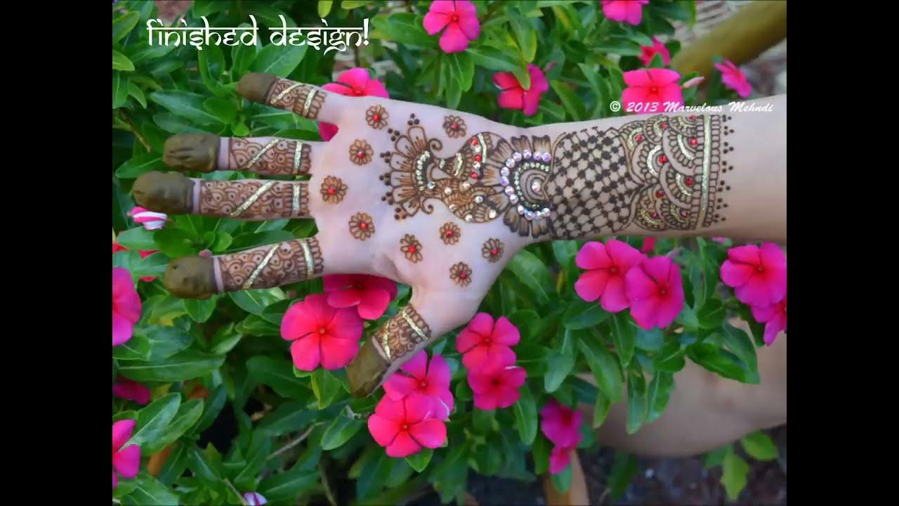 bridal mehndi design with swarovski crystal rhinestones by marvelous mehndi