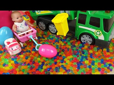 Baby doll and Dirt cart Surprise eggs color candy Kinder Joy toys