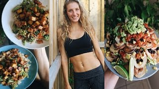 WHAT I EAT IN A DAY VLOG | EASY, HEALTHY RECIPES (veggie stir fry & potato nachos)