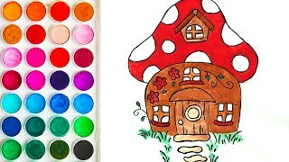 Drawing Mushroom House for Kids, Drawing Step by Step for Baby