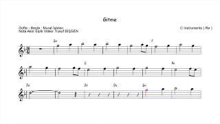 Nota Akor Eşlik -  Gitme Aklım Sende Kalır - C Instruments ( Re )