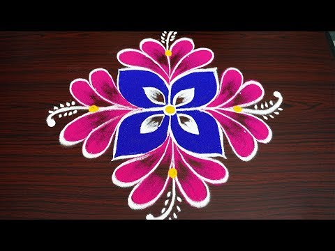 Download Simple Colour Flower Rangoli With 3 Dots Kolam For