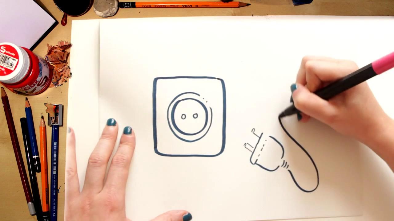 Como desenhar uma Tomada de Energia Elétrica - desenhos para crianças