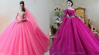 Gorgeous Gowns Barbie Doll Dresses / Easy Barbie Tutu Dress & 5