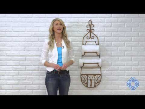 Video for Rustic Iron Hanging Towel Rack w/ Basket
